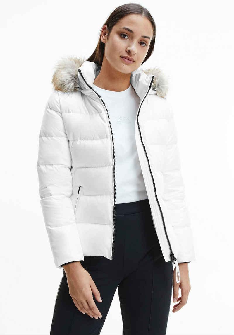 Calvin Klein Daunenjacke »ESSENTIAL REAL DOWN JACKET« mit abnehmbarer Kapuze & Fellimitat