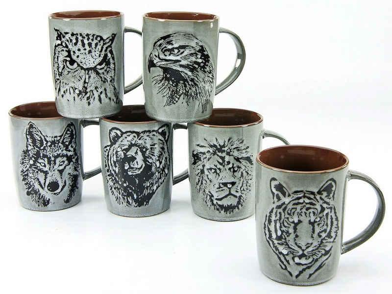 CreaTable Becher »Wildlife«, Steinzeug, Tiermotive als Relief, 6-teilig