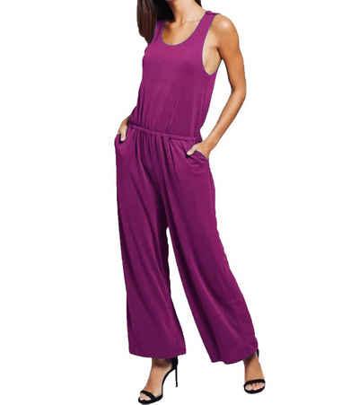 khujo Jumpsuit »khujo Venice Overall stylischer Damen Sommer-Jumpsuit aus weichem Jersey Mode-Overall Violett«
