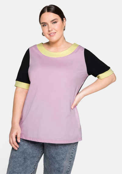 Sheego T-Shirt in Colour-Blocking-Optik