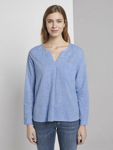 TOM TAILOR Denim Shirtbluse »Henley Shirt in Melange-Optik«