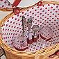 matches21 HOME & HOBBY Picknickkorb »Picknickkorb Weidenkorb oval 11-tlg. Weiß / rot«, Für 2 Personen / Geschirr, Besteck, Zubehör, Bild 3