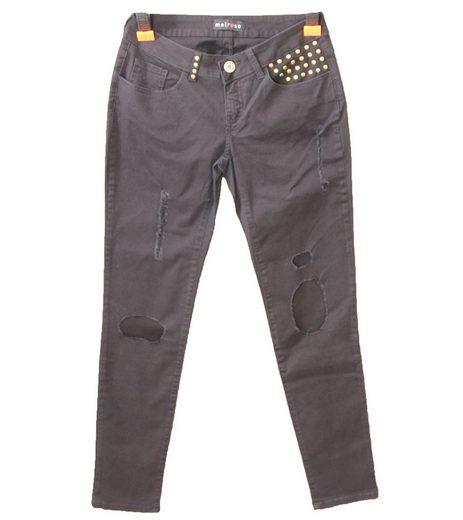 Melrose Regular-fit-Jeans »melrose Jeans moderne Hose für Damen mit Nieten 5-Pocket-Hose Schwarz«
