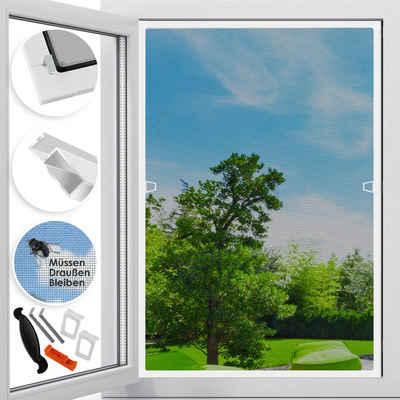 Insektenschutzplissee, KESSER, Fliegenschutzgitter für Fenster mit Aluminium Rahmen Fliegengitter Fliegenschutz Insektenschutz Mückengitter Moskitonetz Spannrahmen - ohne Bohren und Schrauben