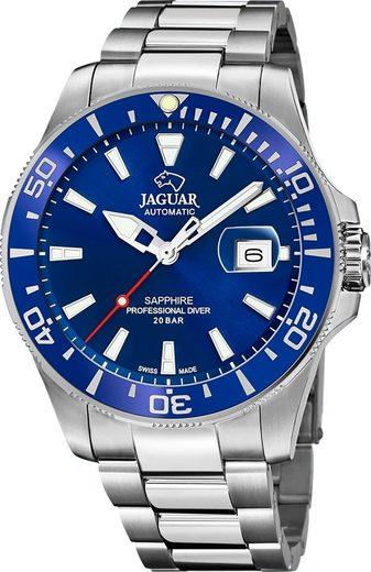 Jaguar Quarzuhr »UJ886/1 Jaguar Herren Armbanduhr Daily Classic«, (Analoguhr), Herrenuhr rund, groß (ca. 43mm), Edelstahl, Edelstahlarmband, Sport-Style