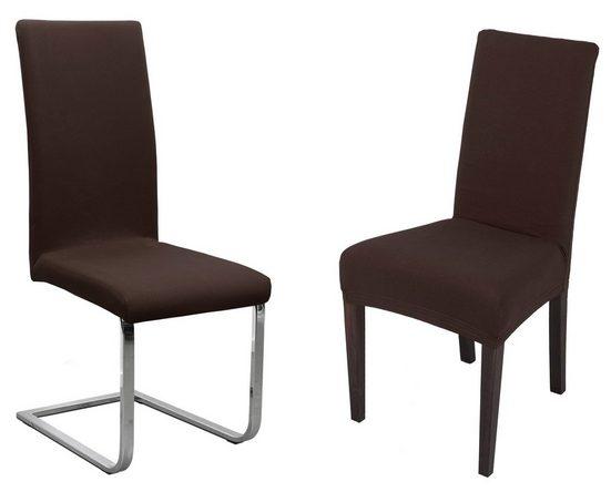 Stuhlhusse »Jersey Stuhlhussen Sets von Beautex, elastische Stretch Husse Baumwolle Bi-Elastic, Farbe wählbar«, Beautex