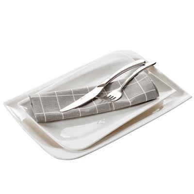 vancasso Kombiservice »Cloris« (2-tlg), Porzellan, 2-teilig rechteckig Platten