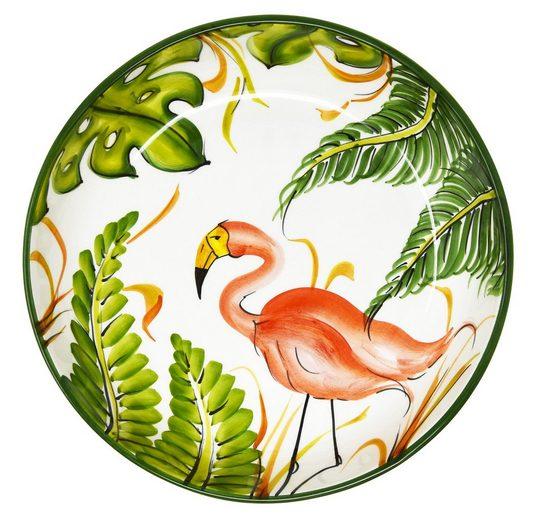 Lashuma Servierschüssel »Flamingo«, Keramik, (1-tlg), Servierschale Rund, Pastaschüssel Ø 28 cm