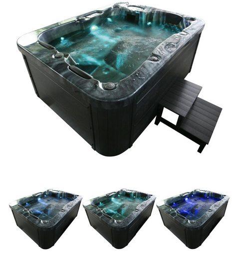 HOME DELUXE Whirlpool »Black Marble«, (Set), mit Treppe und Abdeckung, BxLxH: 160x210x83 cm