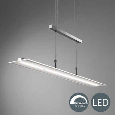 B.K.Licht LED Pendelleuchte, Hängeleuchte, LED Hängelampe dimmbar inkl. 20W 1600lm 3000K höhenverstellbar Echtglas IP20