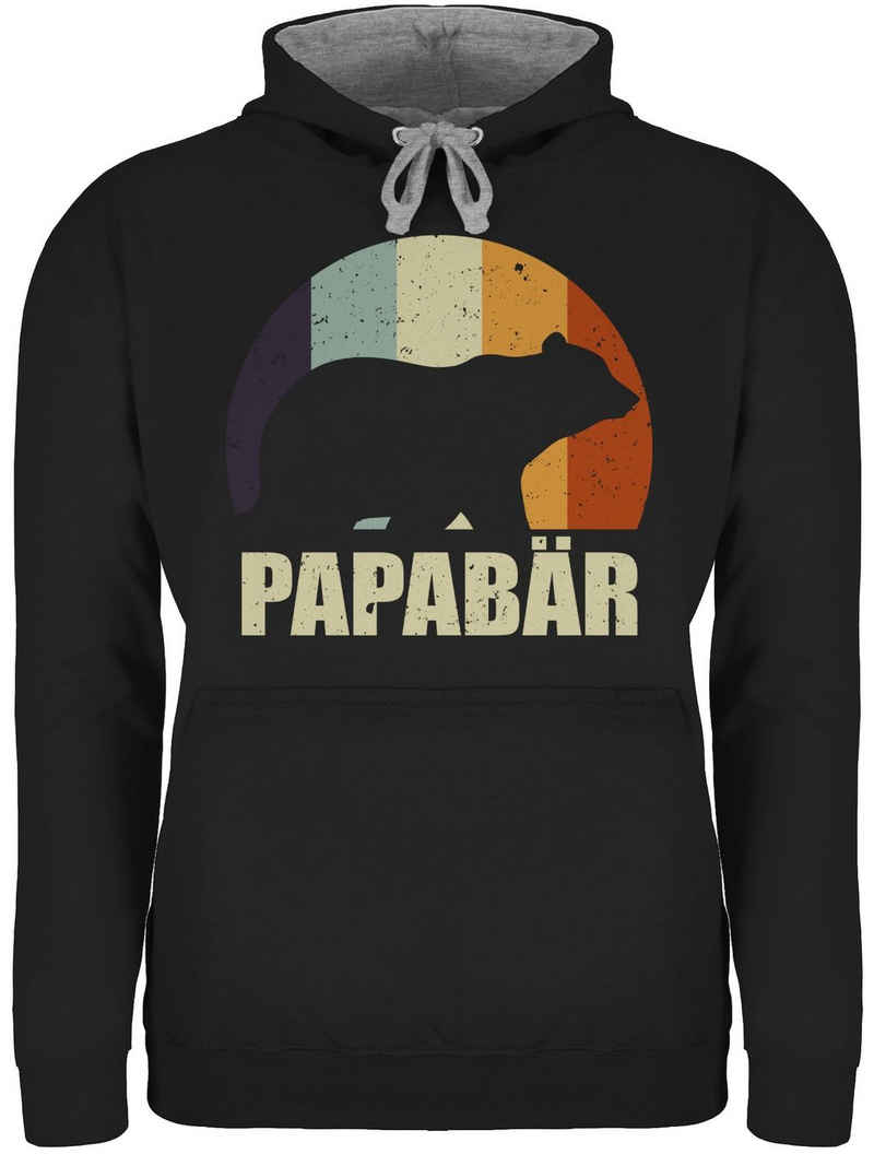 Shirtracer Hoodie »Papa Bär Vintage - Papa und Vater Geschenk - Unisex Damen & Herren Kontrast Hoodie« Vatertag Geschenke für Männer