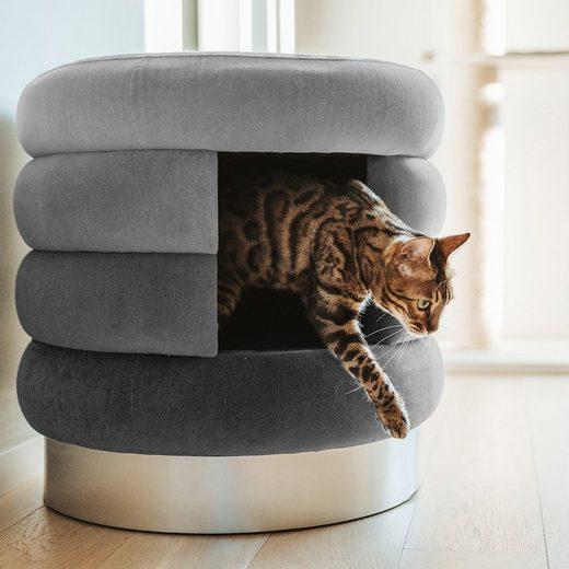 Canadian Cat Company Tierbett »Choupette - grau«, Stoff, Katzenhöhle, Katzenbett, Kuschelhöhle und Hocker für Katzen XL