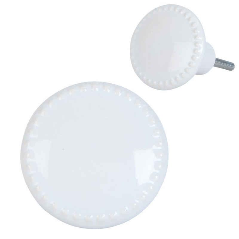 Clayre & Eef Möbelknopf »Schrankknopf MARLEY weiß Türknopf mit Perlenkante Keramik Schrankgriff Cottage«