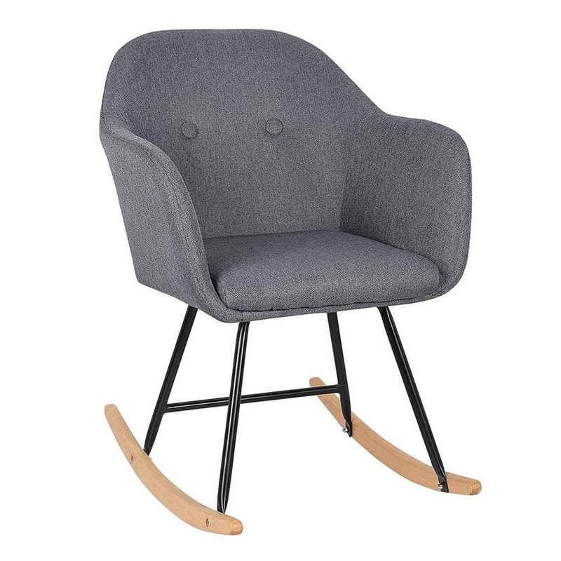 Woltu Esszimmersessel, Gemütlich Schaukelstuhl Relaxsessel aus Leinen & Holz im Hellgrau
