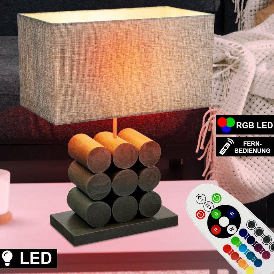etc shop Tischleuchte, Lese Lampe Fernbedienung Nacht Schreib Tisch Leuchte  dimmbar Holz Textil eckig im Set inkl. RGB LED Leuchtmittel online kaufen  ...