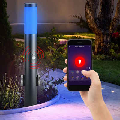 etc-shop LED Außen-Stehlampe, RGB LED Steh Leuchte 2x Außen Steckdosen Garten Bewegungsmelder Lampe dimmbar steuerbar per Handy