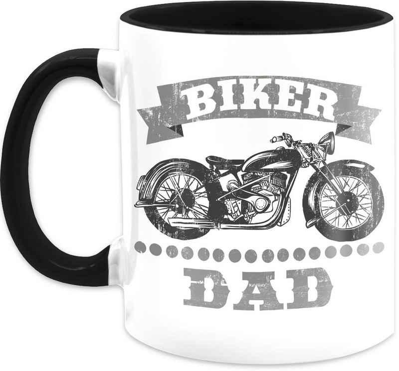 Shirtracer Tasse »Biker Dad Vintage - Vatertagsgeschenk Tasse - Tasse zweifarbig«, Keramik