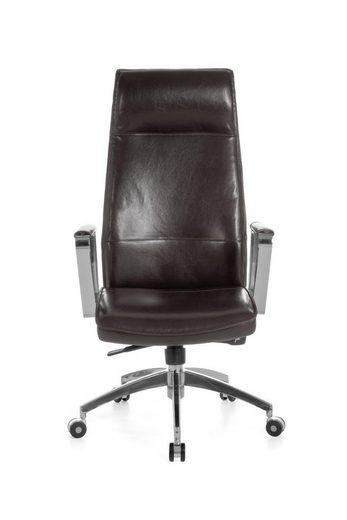 Amstyle Chefsessel »SPM1.144«, Bürostuhl VERONA Bezug Echtleder Braun Schreibtischstuhl X-XL 120 kg Synchronmechanik Chefsessel Kopfstütze