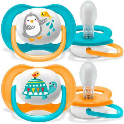 Philips AVENT Schnuller »SCF080/07«, ultra air Schnuller, 6 bis 18 Monate Boy, Kiefergerecht und BPA-frei, Doppelpack, Pinguin/Schildkröte