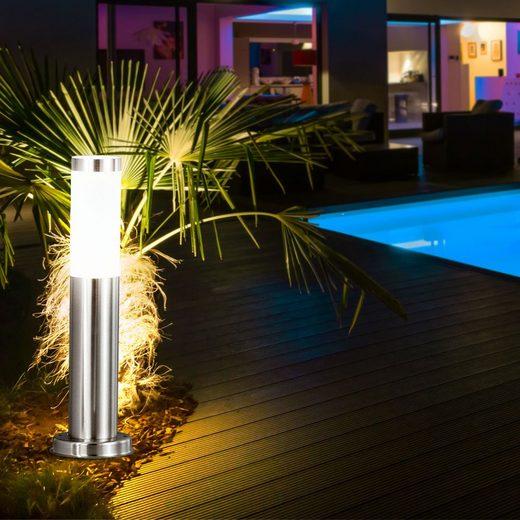 etc-shop Sockelleuchte, LED Außenleuchte Hof Lampe Edelstahl Gartenleuchte Kunststoff IP44 Terrassenlampe