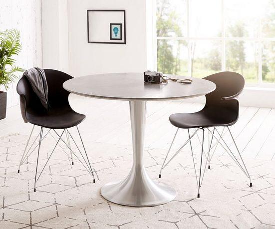 DELIFE Esstisch »Charo«, Grau 100x100 cm Beton rund Gestell Aluminium Esstisch
