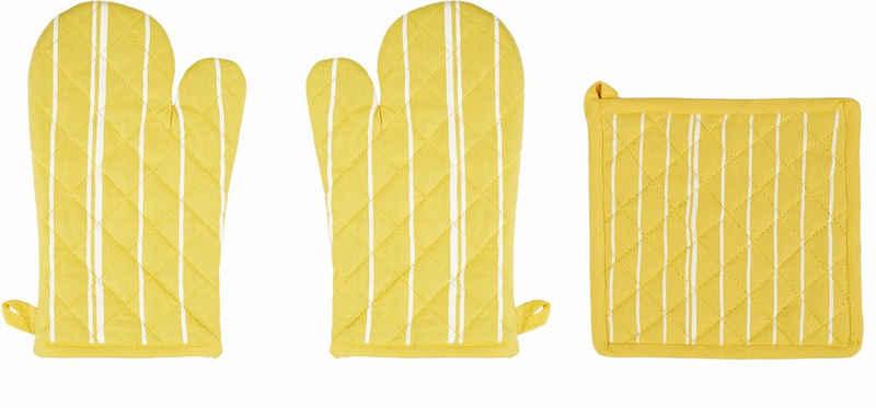 stuco Topfhandschuhe »Streifen«, (Set, 3-tlg., bestehend aus 2x Ofenhandschuh, 1x Küchengreifhilfe)