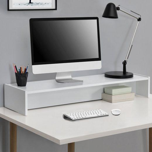 en.casa TV-Regal, »Flensberg« Monitorerhöhung 100x27x15cm - Weiß