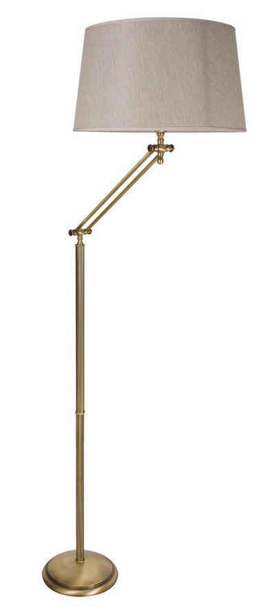 Licht-Erlebnisse Stehlampe »SNODO«, Stehleuchte aus Messing bronziert Beige E27 mit Lesearm Wohnzimmer