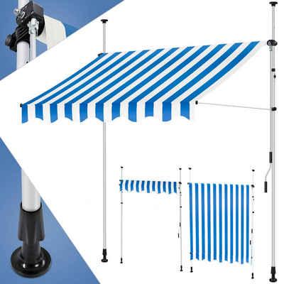 KESSER Klemmmarkise mit Handkurbel Balkon, Balkonmarkise ohne Bohren, UV-beständig höhenverstellbar wasserabweisend, Sonnenschutz, Terrassenüberdachung, einfache Montage