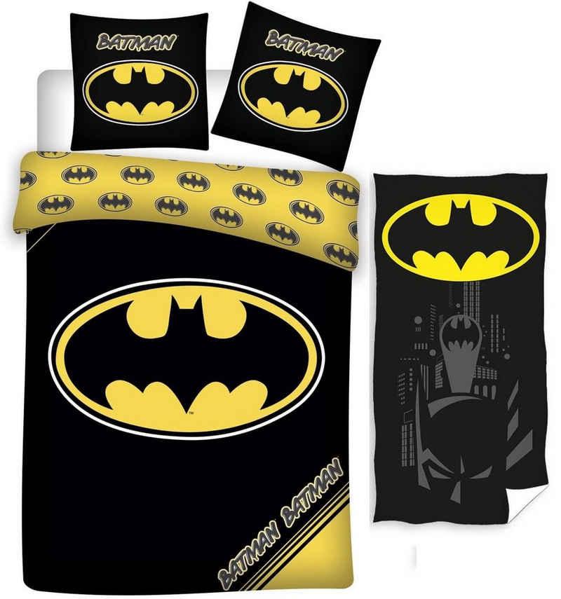 Kinderbettwäsche »Batman - Wende-Bettwäsche-Set, 135x200 cm und Handtuch, 70x140 cm«, Batman, 100% Baumwolle