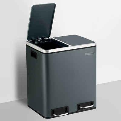 SONGMICS Mülleimer »LTB30BK LTB30GS LTB30H«, Abfalleimer, Küche, 30L, aus hochwertigem Metall, ergonomisch