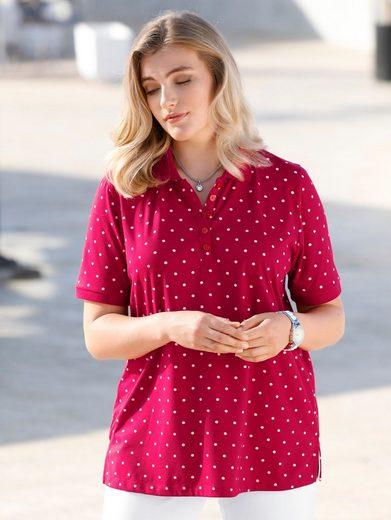m. collection Poloshirt mit kontrastfarbenen Pünktchen-Muster rundum