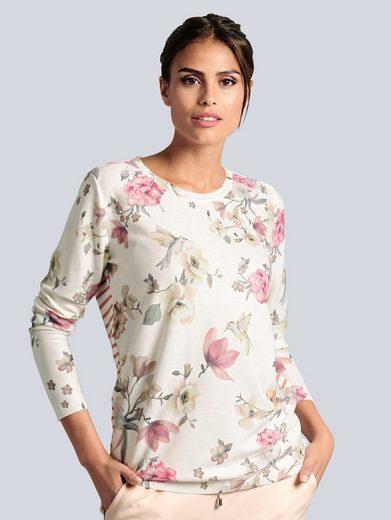 Alba Moda Pullover mit einem malerischem Blumendruck