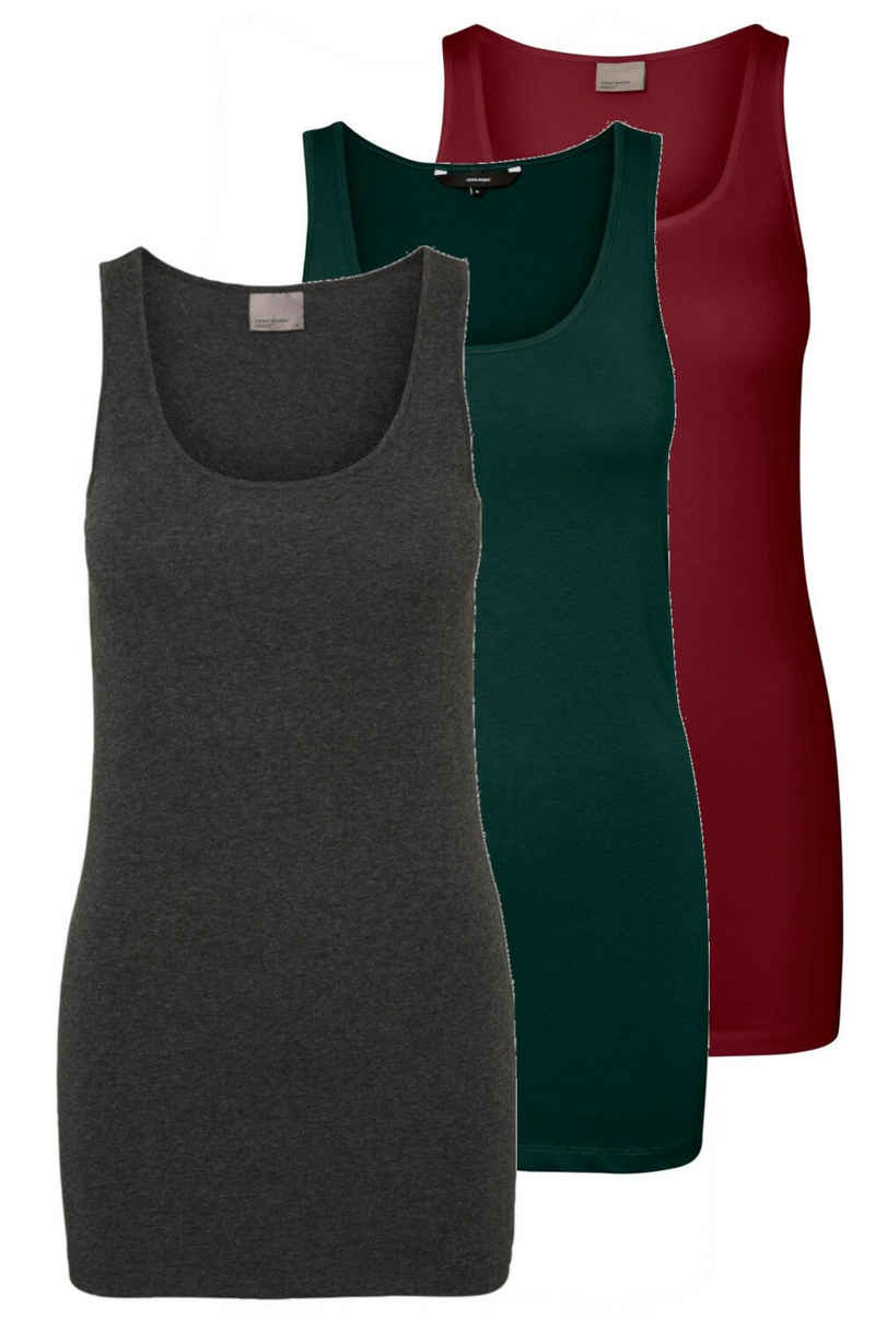 Vero Moda Tanktop »Long Tank Top« (3-tlg) (3 Stück) lang, elastische Baumwollqualität