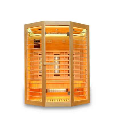 HOME DELUXE Infrarotkabine »Redsun Deluxe XL«, Vollspektrumstrahler und Karbon-Flächenstrahler, Holz: Hemlocktanne, Maße: 155 x 120 x 190 cm, Infrarotsauna für 2-3 Personen, Infrarot, Kabine