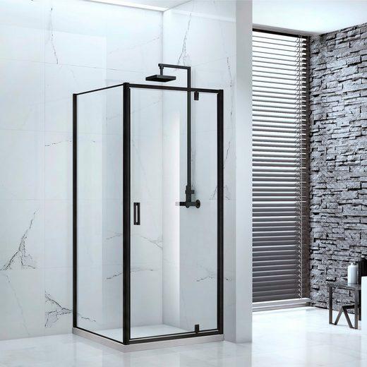 MARWELL Duschwand »Cube«, Design Eckdusche 90x90x200 cm mit Drehtür, ohne Duschwanne