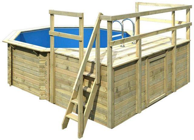 Karibu Komplett-Set: Achteck-Holzpool