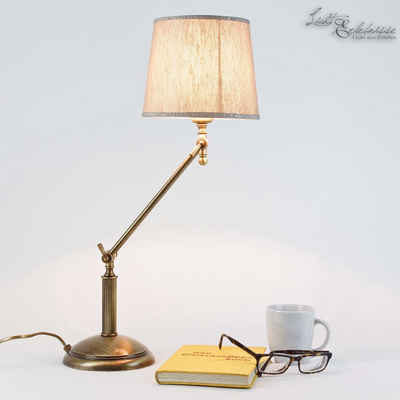 Licht-Erlebnisse Schreibtischlampe »SNODO«, Tischlampe Messing Bronze Stoffschirm Beige Verstellbar Handarbeit