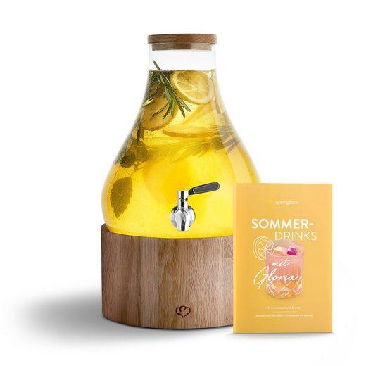 Springlane Karaffe »Gloria«, Glas Getränkespender 5.5 L mit Edelstahl-Zapfhahn, Eichenholz-Ständer & Rezeptheft