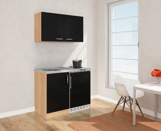 RESPEKTA Küchenzeile, mit Duo-Kochplattenfeld und Kühlschrank, Breite 100 cm