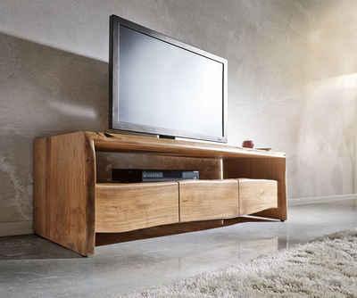 DELIFE TV-Board »Live-Edge«, Akazie Natur 145 cm Ablagefach offen Baumkante Lowboard