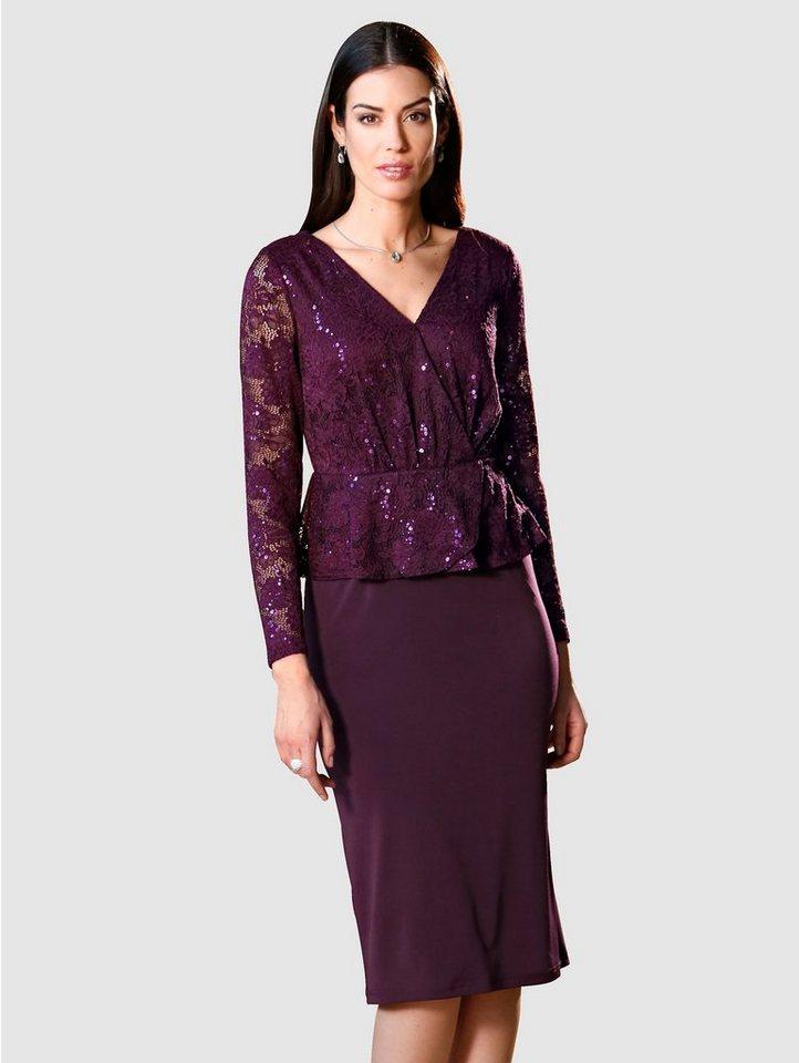 Paola Kleid mit Spitze und Pailletten, Rockteil aus ...