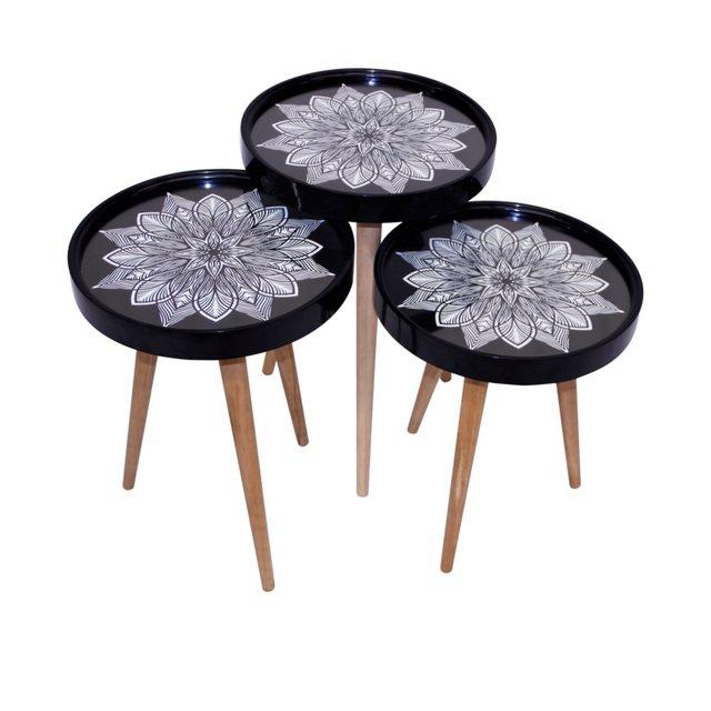 Wohnzimmertische - moebel17 Beistelltisch »Beistelltisch Sternblumen 3 er Set 3D mit Glas Run«  - Onlineshop OTTO