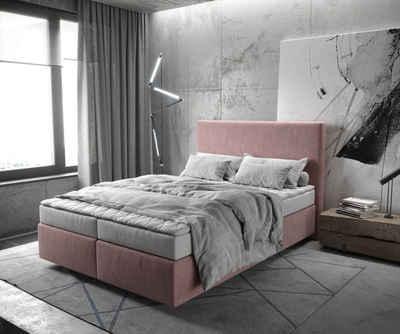 DELIFE Boxspringbett »Dream-Well«, Mikrofaser Rosé 140x200 cm mit Matratze und Topper