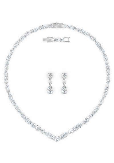 Swarovski Ohrring und Ketten Set »Tennis Deluxe V Mixed, weiss, rhodiniert, 5575495« (Set, 4-tlg), mit Swarovski® Kristallen