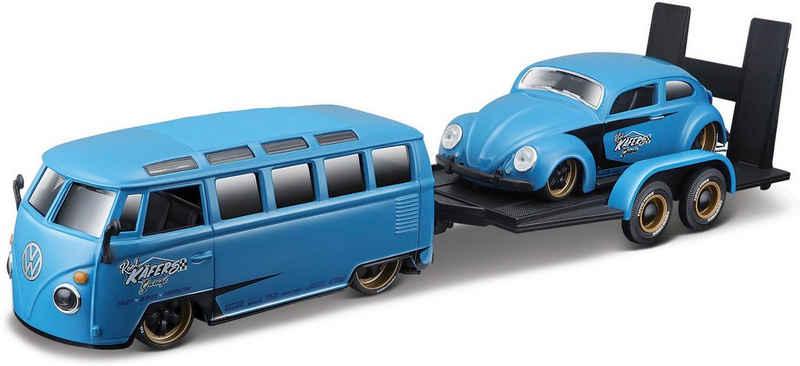 Maisto® Sammlerauto »Elite Transporter VW Van Samba«, Maßstab 1:24, inklusive Anhänger mit Beetle