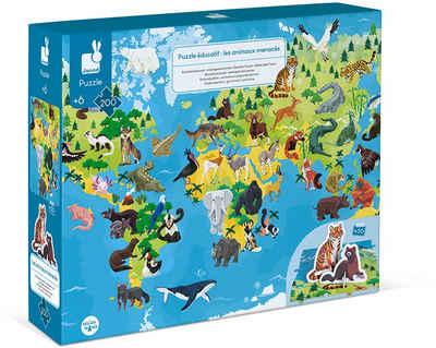 Janod Puzzle »Gefährdete Tiere«, 200 Puzzleteile, mit Figuren
