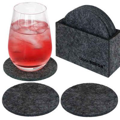 DuneDesign Glasuntersetzer 8 Edle Filz-Untersetzer 10cm Runde Bierdeckel, Set, 1-tlg., Glas-Untersetzer Set Filz grau
