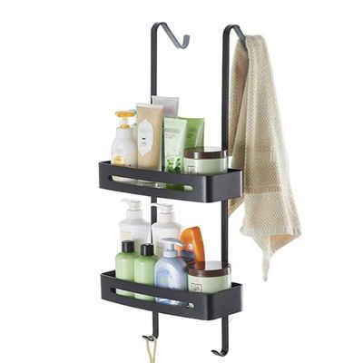 Masbekte Duschablage »Wandregal«, ohne Bohren, 2 Ebenen Duschregal, mit Handtuchhalter und Saugnapf