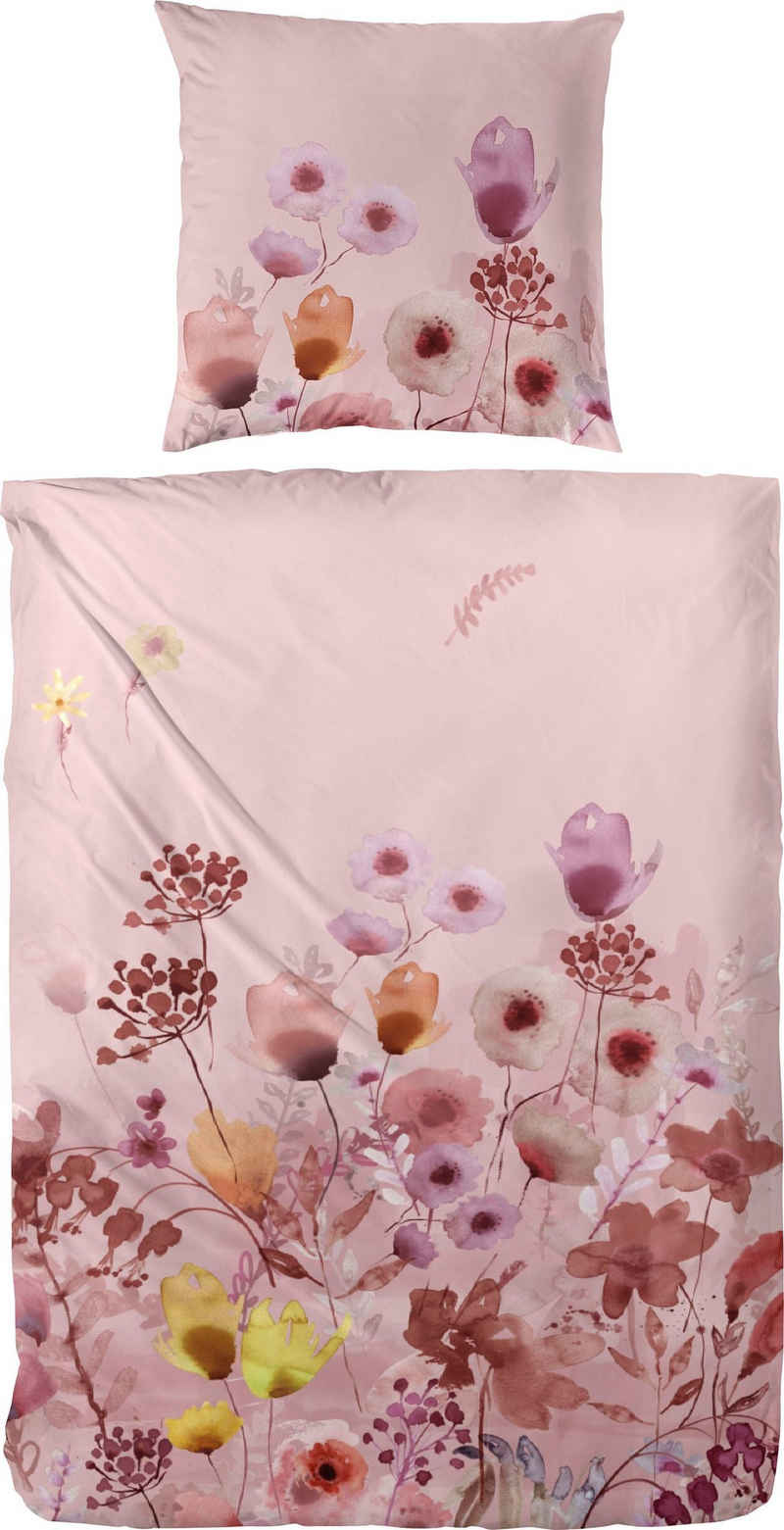 Bettwäsche »Edelflanell-Bettwäsche Bloom«, Primera, Mit einem liebliche Blumenprint